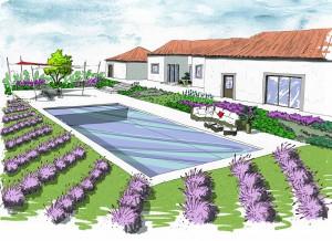 Jardin au milieu des lavandes - CROQUIS D'AMBIANCE PROJET - Christophe Naudier - Architecte paysagiste - Aix en Provence - Création jardin