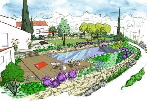 Jardin en Restanques au milieu des bois et ambiances naturelles - CROQUIS D'AMBIANCE PROJET - Christophe Naudier - Architecte paysagiste - Aix en Provence - Création jardin