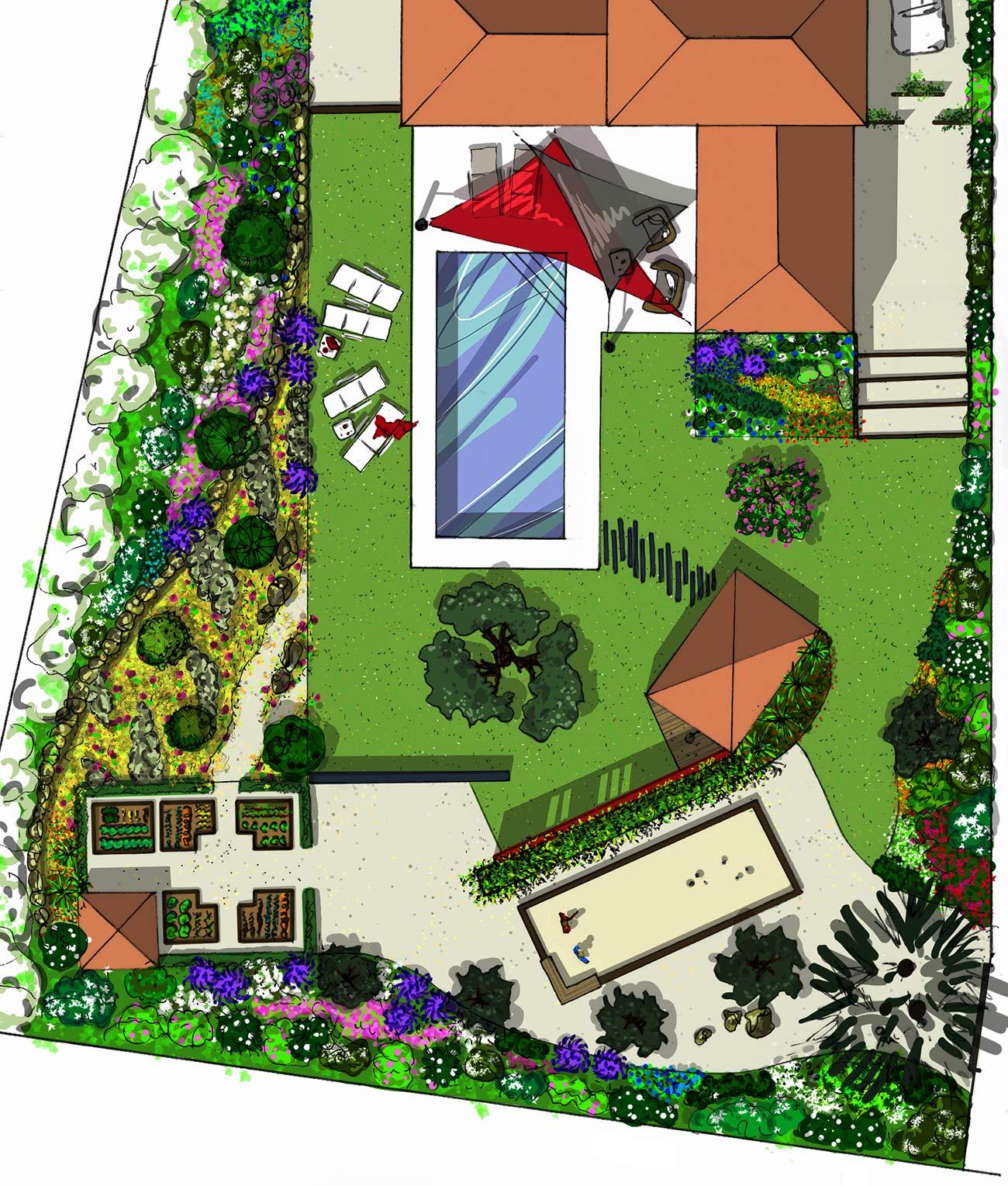 Atelier Naudier - Architecte paysagiste concepteur - Montpellier & Aix en Provence - Jardin naturel contemporain - PLAN PROJET - aménagement jardin - FRANCE 3 IN SiTU
