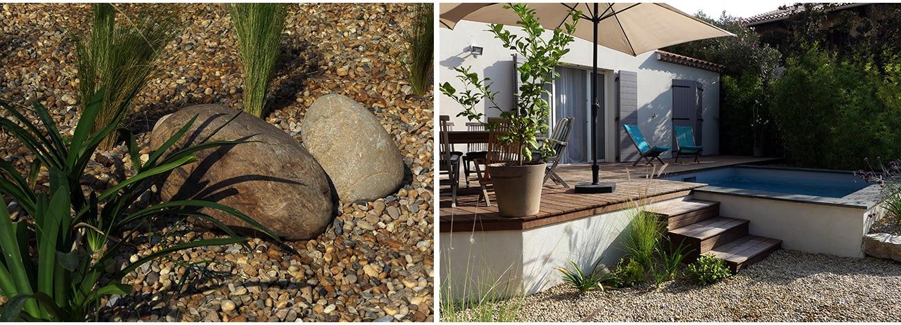 Piscine carrée semi enterrée et jardin de galets - Architecte paysagiste concepteur Montpellier