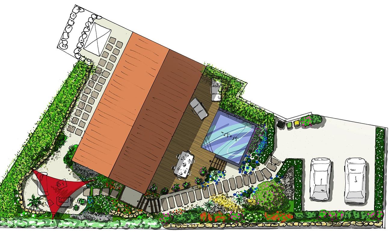 Plan projet piscine carrée et jardin écologique - Architecte paysagiste concepteur Montpellier