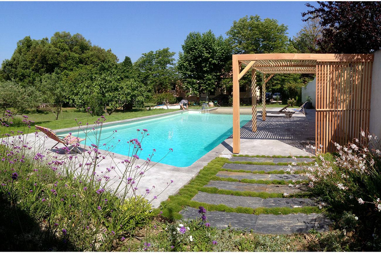 Pergola bois claire voie - Architecte paysagiste concepteur Montpellier