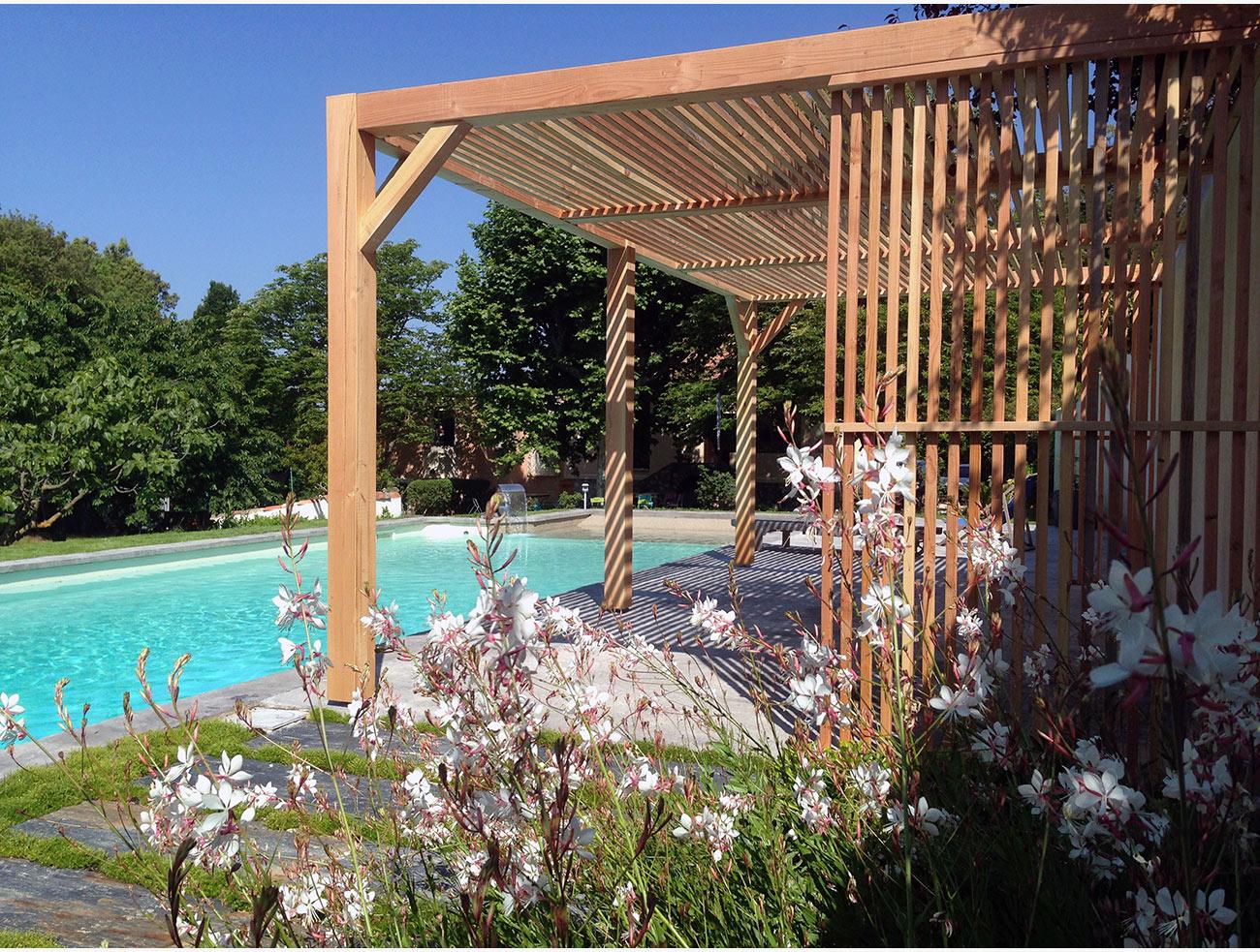 Pergola contemporaine bois - Architecte paysagiste concepteur Montpellier