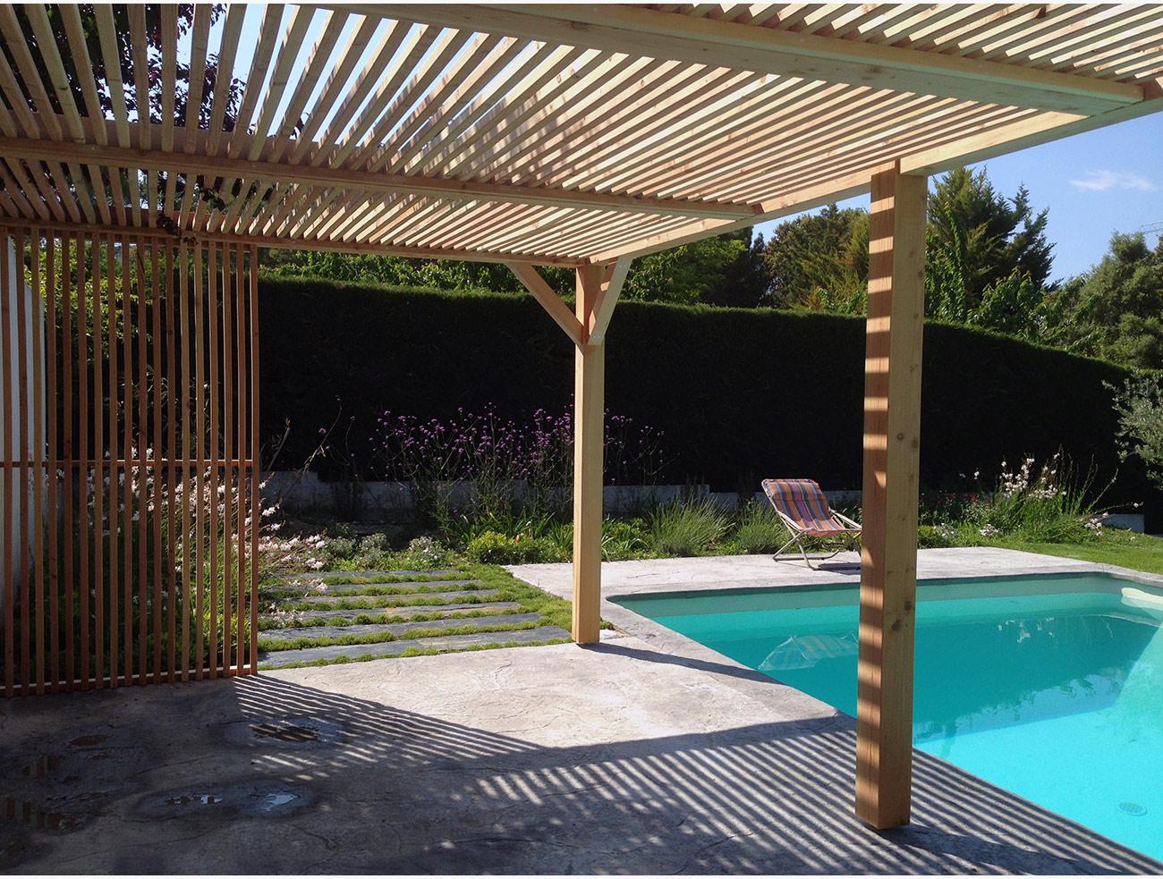 Pergola bois clairevoie - Architecte paysagiste concepteur Montpellier