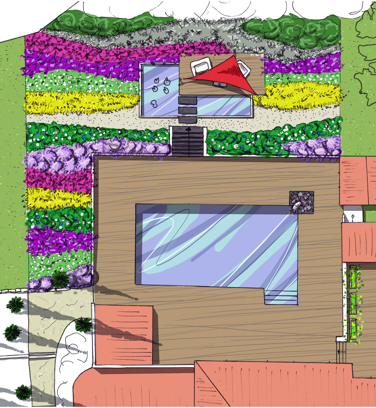 Atelier Naudier - Architecte paysagiste concepteur - Montpellier & Aix en Provence - aménagement jardin graphique & piscine relookée - PLAN PROJET - Création jardin