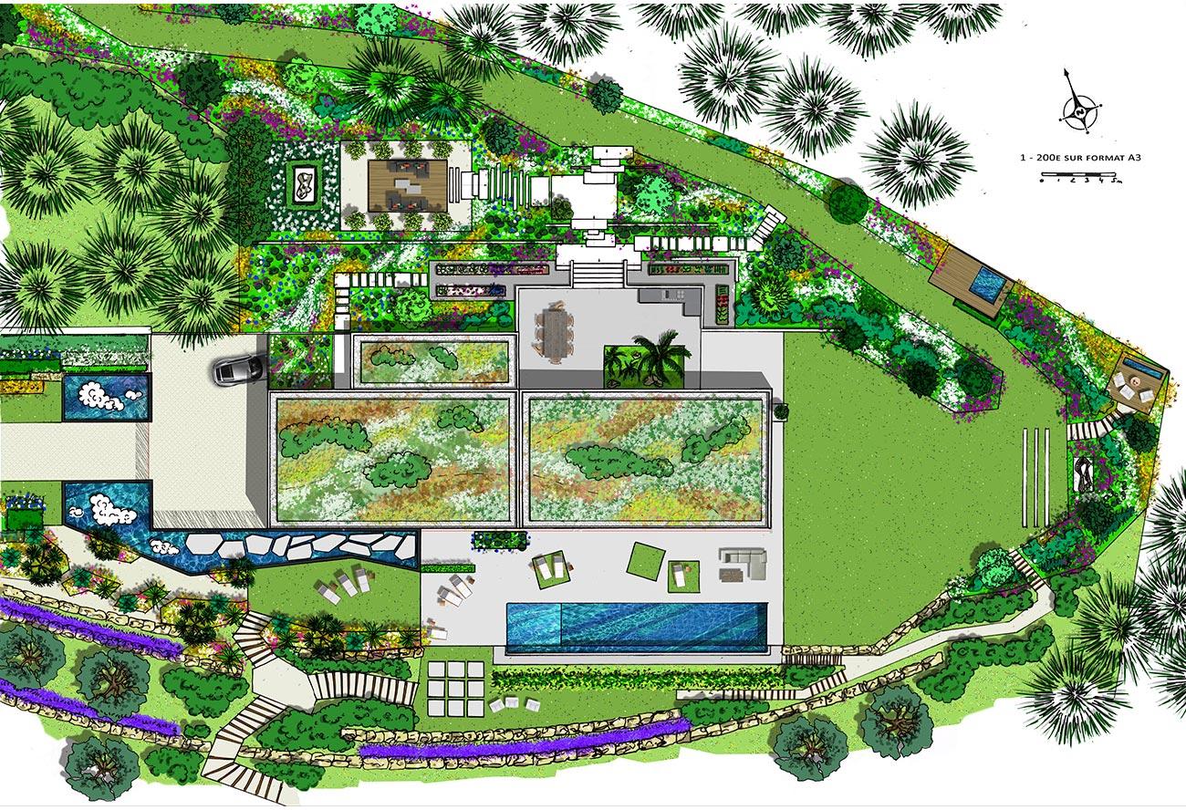 Aménagement jardin d'envergure - Paysagiste concepteur - Montpellier