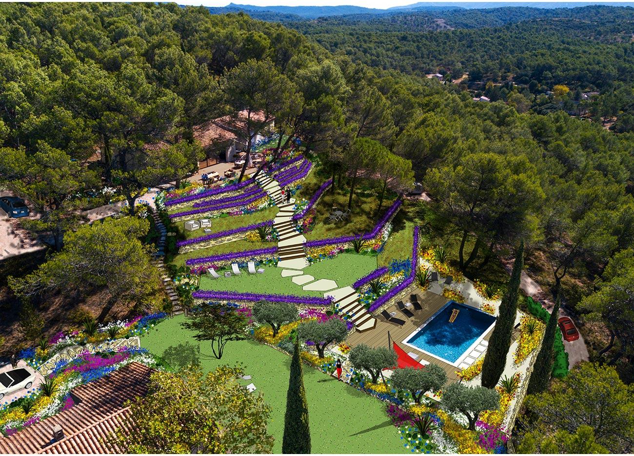 Vue aérienne jardin méditerrannéen - Paysagiste Montpellier
