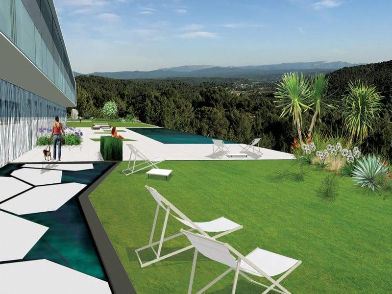 Atelier Naudier - Architecte paysagiste concepteur - Montpellier & Aix en Provence - aménagement jardin d'envergure - VUE ENTREE & PISCINE