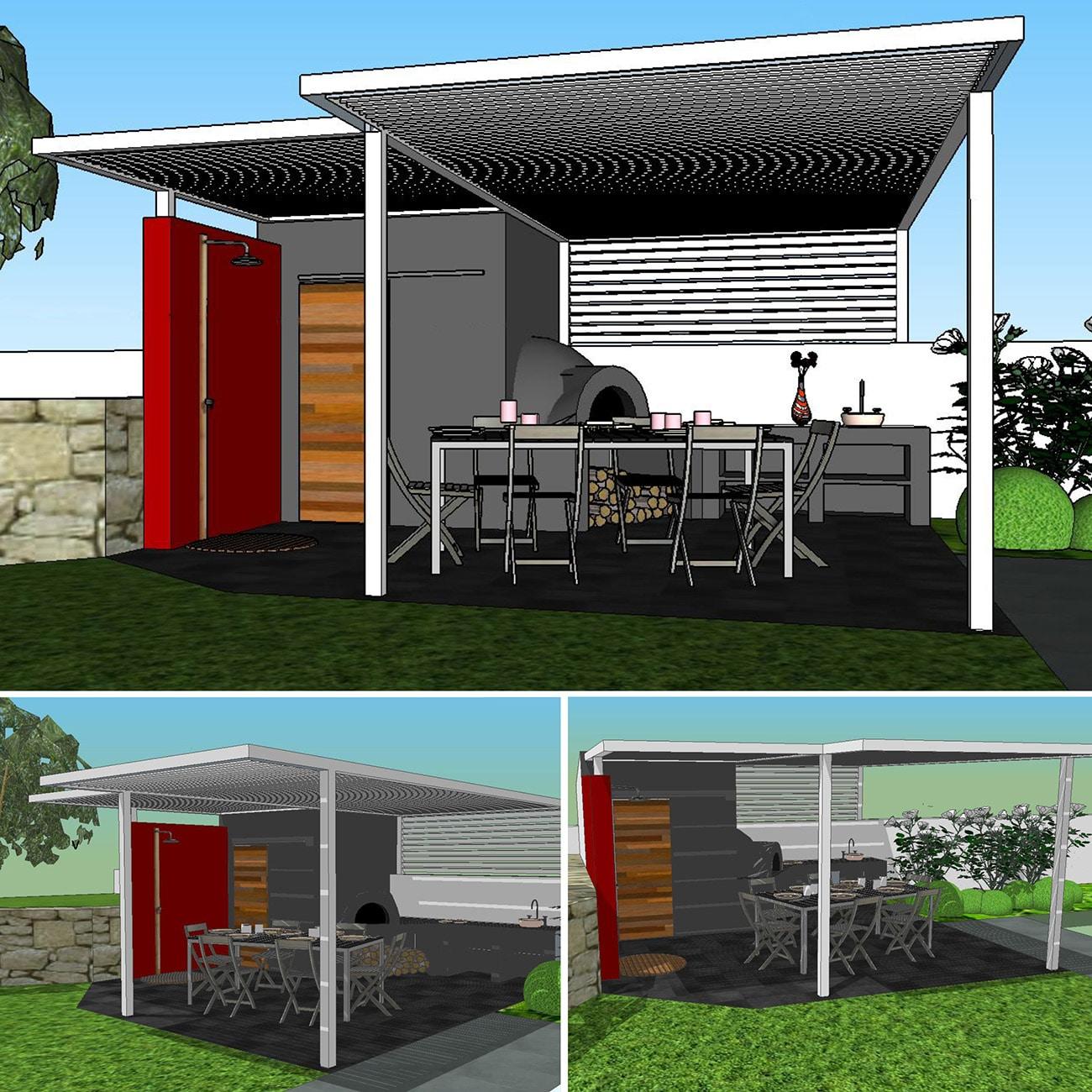 Atelier Naudier - Architecte paysagiste concepteur - Montpellier & Aix en Provence - Projet Cassis - 3D Pool house et jardin 1