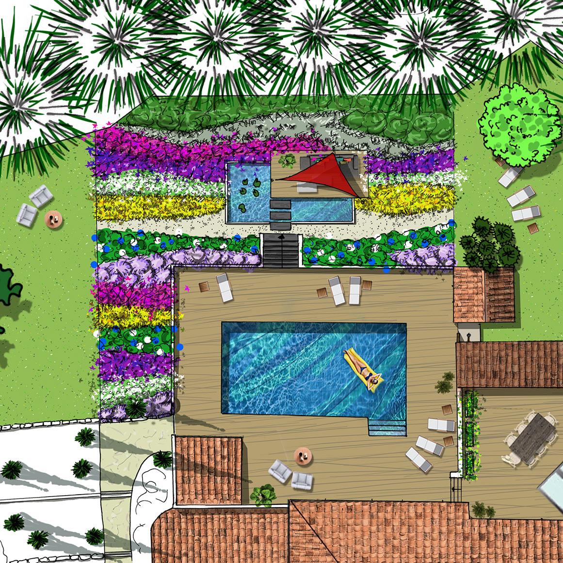 Atelier Naudier - Architecte paysagiste concepteur - Montpellier & Aix en Provence - PLAN Projet en Provence - aménagement jardin