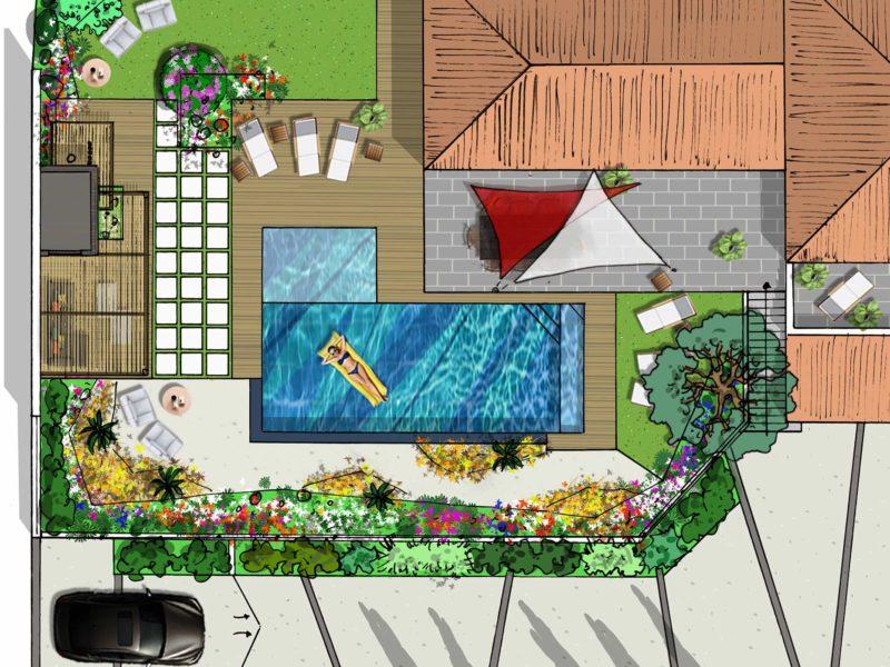 Atelier Naudier - Architecte paysagiste concepteur - Montpellier & Aix en Provence - Projet Piscine & jardin