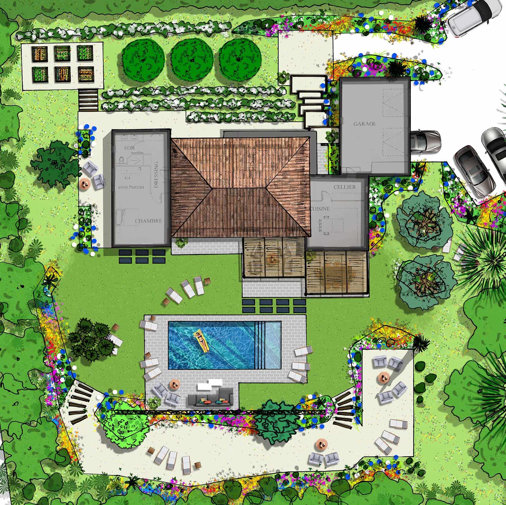 Atelier Naudier - Architecte paysagiste concepteur - Montpellier & Aix en Provence - Projet jardin méditerranéen contemporain - Zoom - aménagement jardin