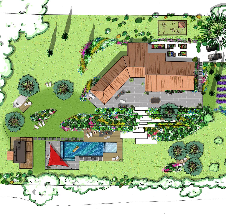 Atelier Naudier - Architecte paysagiste concepteur - Montpellier & Aix en Provence - Projet jardin méditerranéen contemporain Global - aménagement jardin