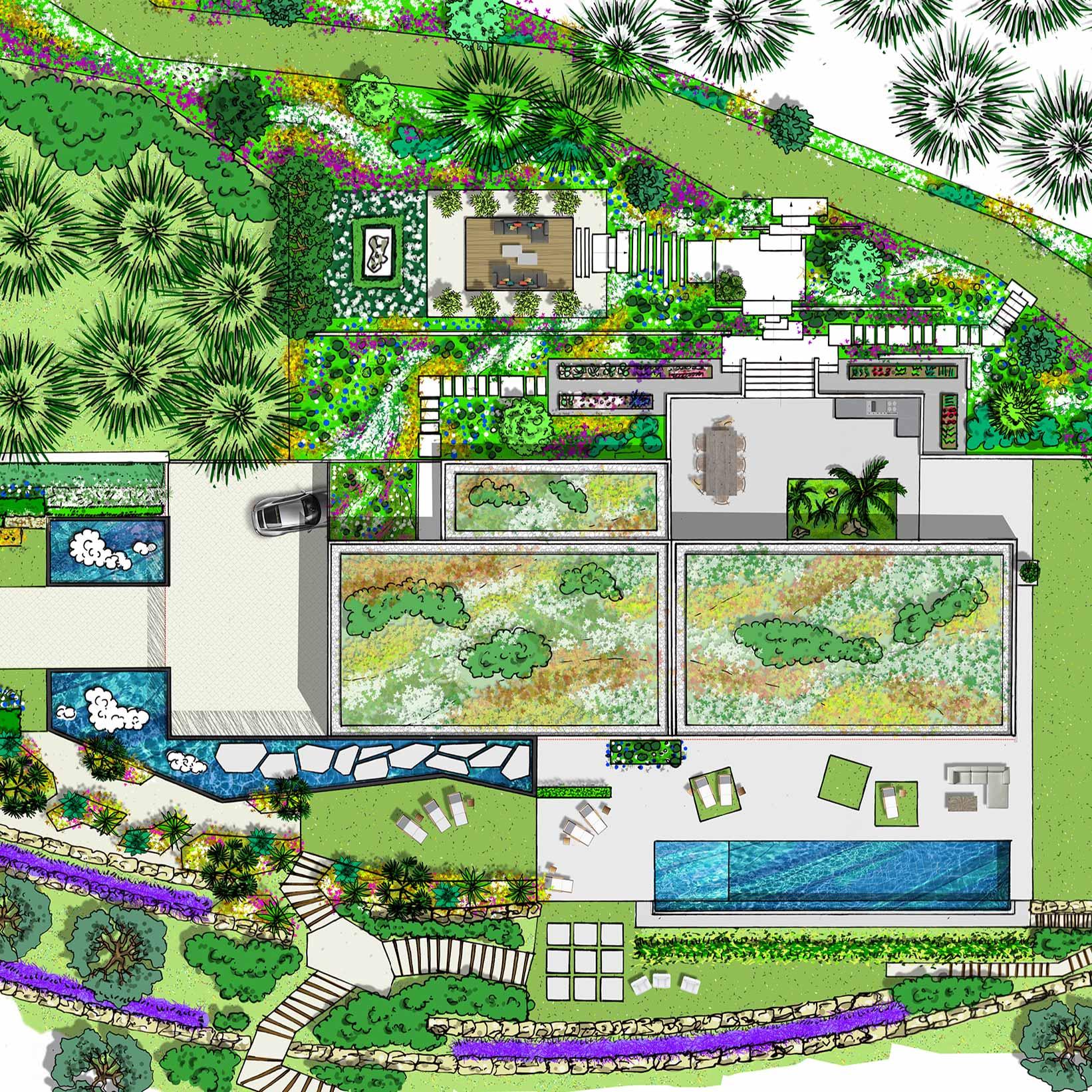 Atelier Naudier - Architecte paysagiste concepteur - Montpellier & Aix-en-Provence - Plan 2 - Projet Jardin -aménagement jardin