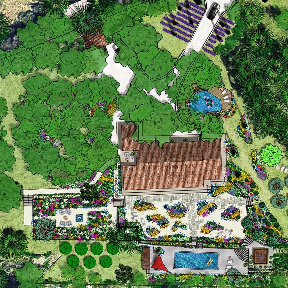 Atelier Naudier - Architecte paysagiste concepteur - Montpellier & Aix-en-Provence - Plan - Projet Jardin -aménagement jardin