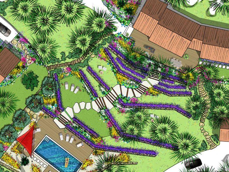 Atelier Naudier - Architecte paysagiste concepteur - Montpellier & Aix-en-Provence - Plan zoom - Projet Jardin -aménagement jardin