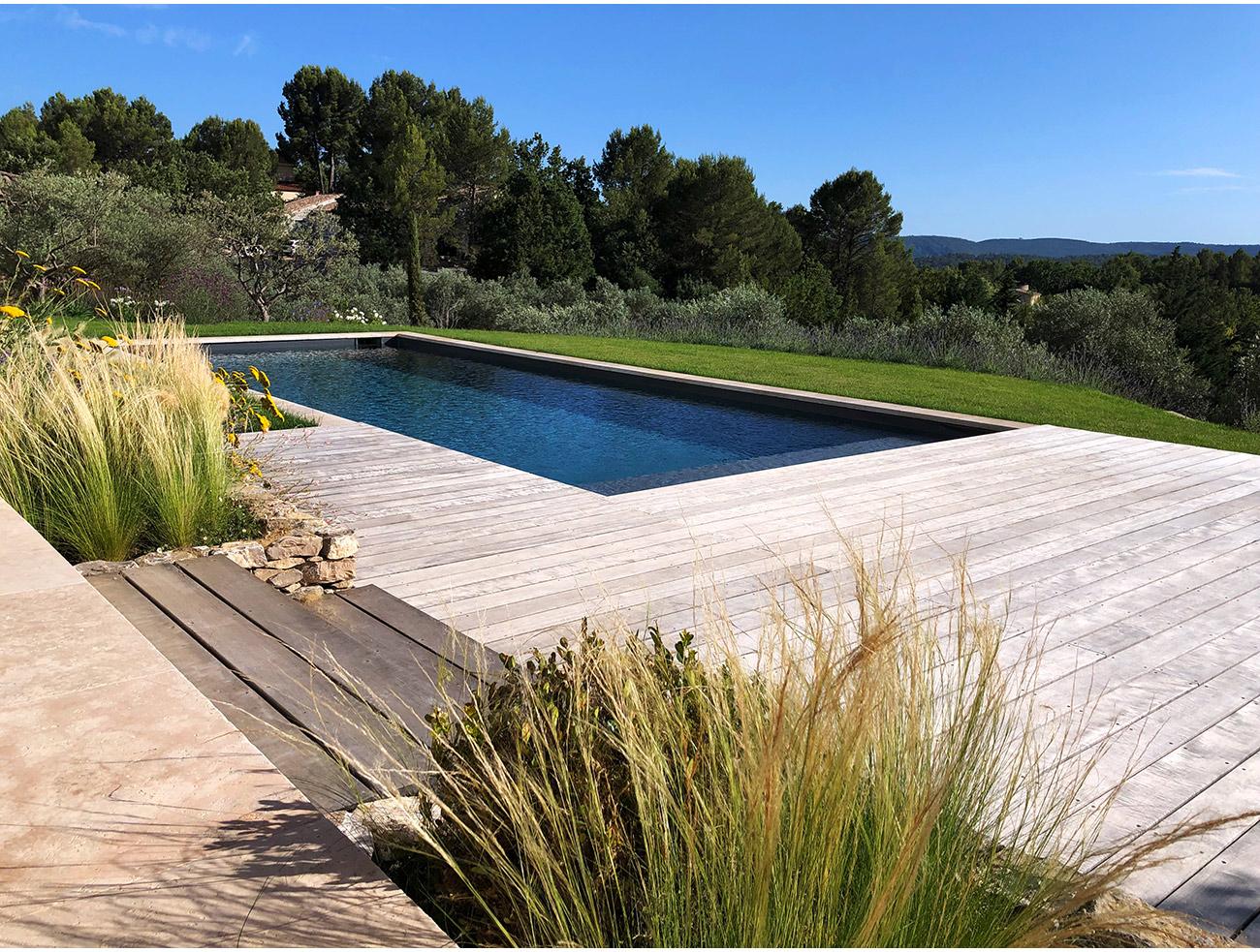 Atelier Naudier - Architecte paysagiste concepteur - Montpellier & Aix en Provence - Jardin piscine terrasse bois