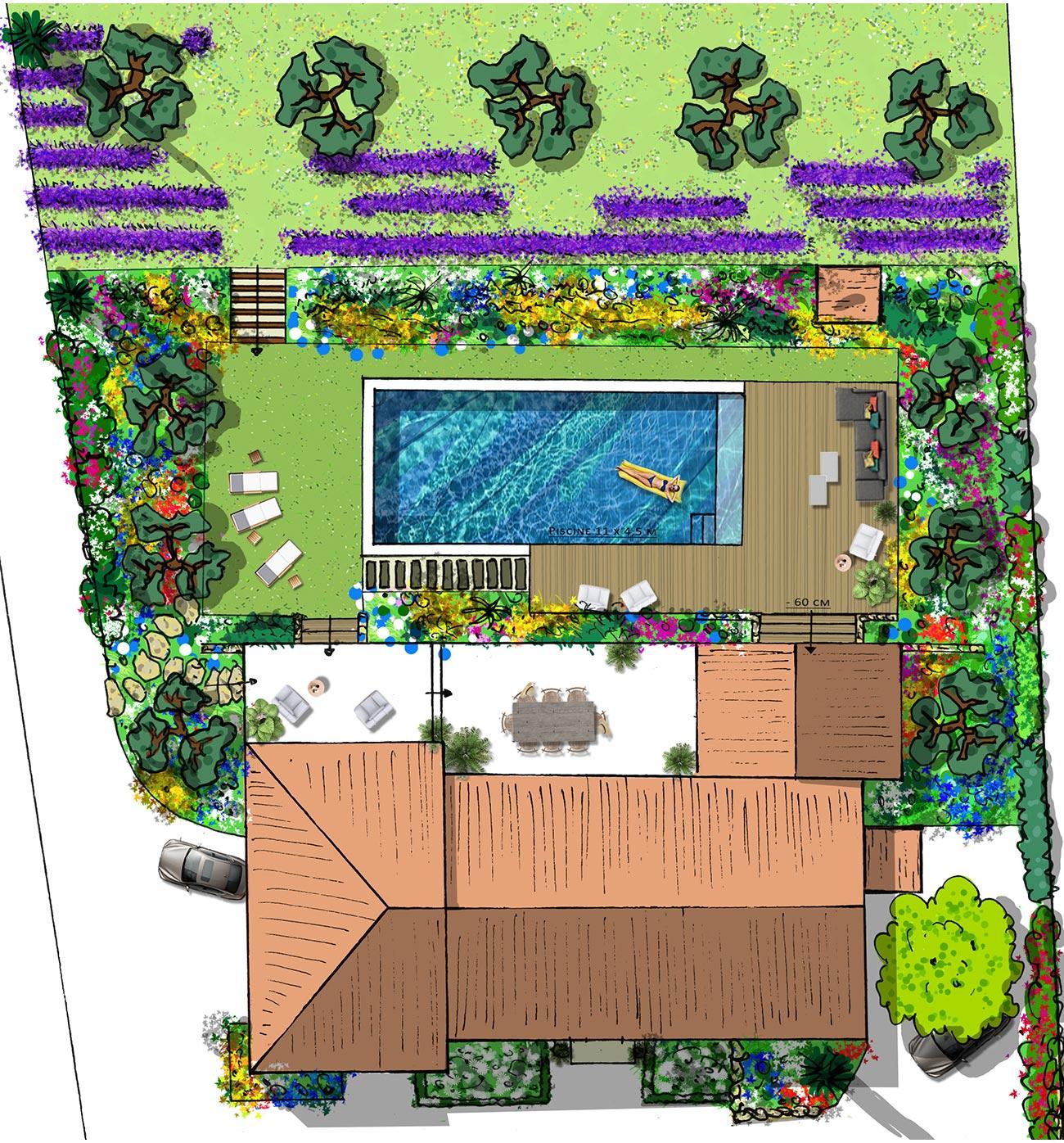 Atelier Naudier - Architecte paysagiste concepteur - Montpellier & Aix en Provence - PLAN PROJET ZOOM - Jardin Piscine