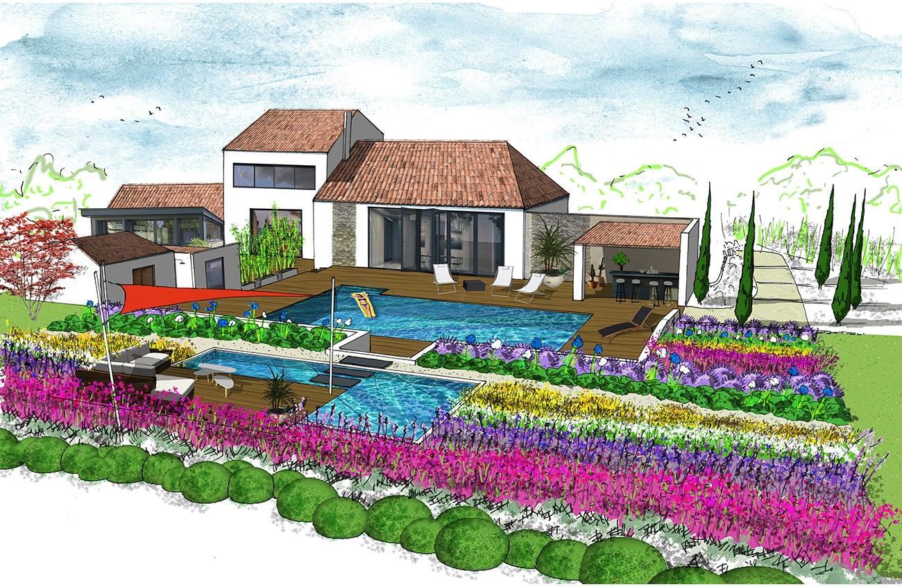 CROQUIS PROJET - Atelier Naudier - Architecte Paysagiste Concepteur - Montpellier & Aix en Provence - Aménagement jardin