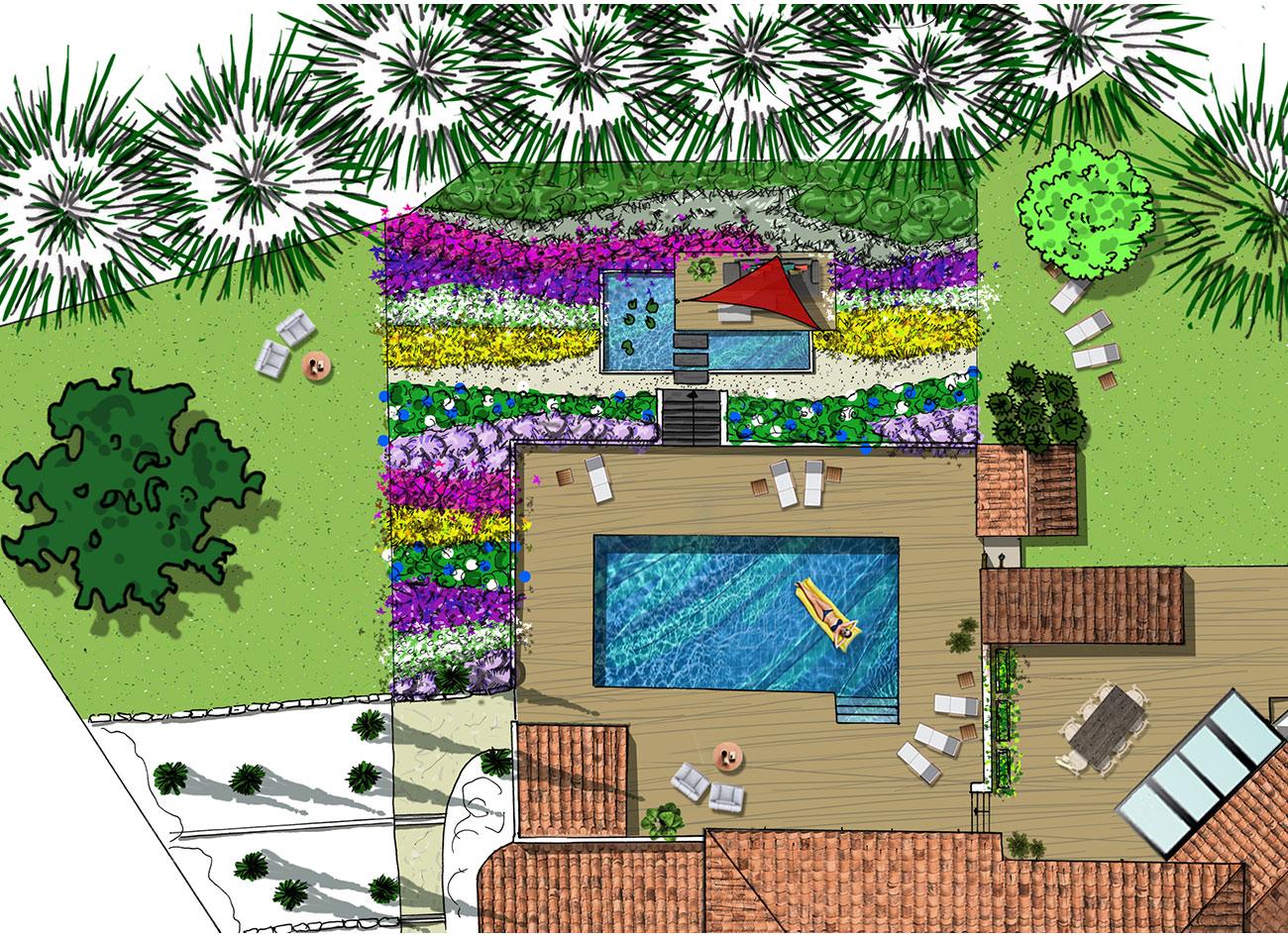PLAN PROJET - Atelier Naudier - Architecte Paysagiste Concepteur - Montpellier & Aix en Provence - Aménagement jardin
