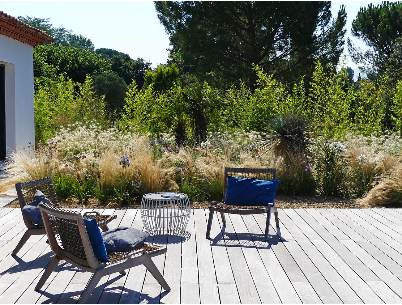 Atelier Naudier - Architecte paysagiste concepteur - Montpellier & Aix-en-Provence - JARDIN et TERRASSE BOIS DÉTENTE - Aménagement jardin