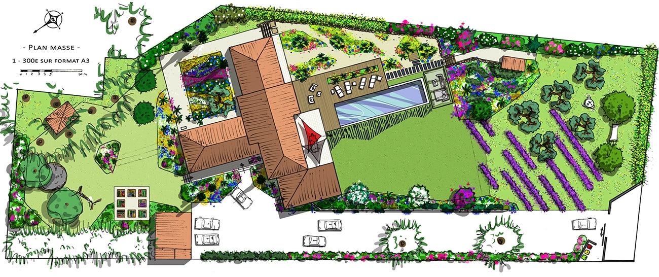 Atelier Naudier - Architecte paysagiste concepteur - Montpellier & Aix-en-Provence - PLAN PROJET JARDIN - Aménagement jardin
