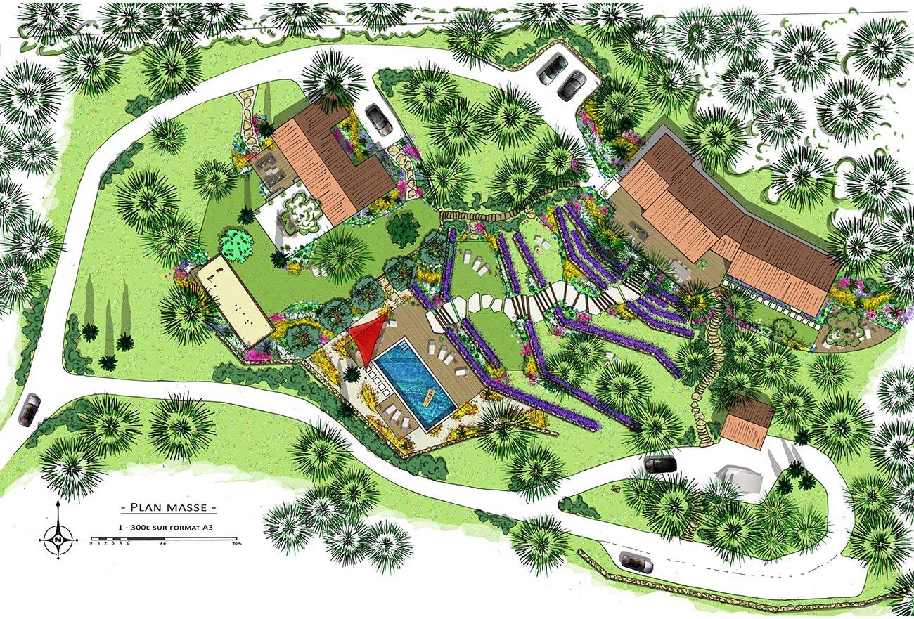 Atelier Naudier - Architecte paysagiste concepteur - Montpellier et Aix en Provence - Jardin en restanque - PROJET PLAN - aménagement jardin