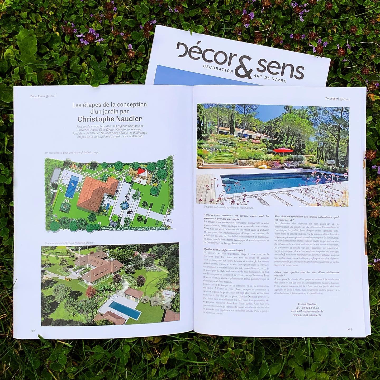 Atelier Naudier - Articles et reportages magazine Décor & Sens 63 - Architecte Paysagiste Concepteur connu - Montpellier et Aix-en-Provence